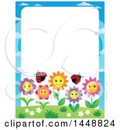 Clipart Of A Border Of Happy Flowers And Ladybugs Royalty Free Vector Illustration