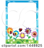 Clipart Of A Border Of Flowers And Ladybugs Royalty Free Vector Illustration by visekart