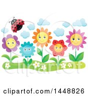 Clipart Of A Ladybug Flying Over Happy Flowers Royalty Free Vector Illustration by visekart