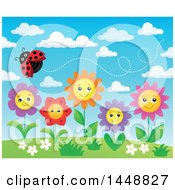 Clipart Of A Ladybug Flying Over Happy Flowers And Blue Sky Royalty Free Vector Illustration by visekart