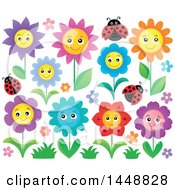 Clipart Of Colorful Happy Flowers And Ladybugs Royalty Free Vector Illustration