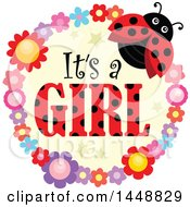 Poster, Art Print Of Ladybug And Flower Frame With Its A Girl Text