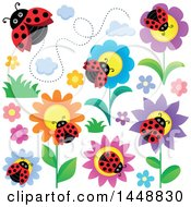 Poster, Art Print Of Ladybugs And Flowers