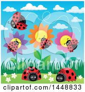 Clipart Of Ladybugs And Flowers Royalty Free Vector Illustration