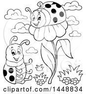 Clipart Of A Black And White Ladybug On A Flower And Friend Sitting Royalty Free Vector Illustration