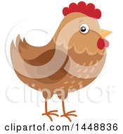 Clipart Of A Brown Hen Royalty Free Vector Illustration