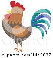 Clipart Of A Crowing Rooster Royalty Free Vector Illustration