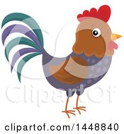 Clipart Of A Cute Rooster Royalty Free Vector Illustration by visekart