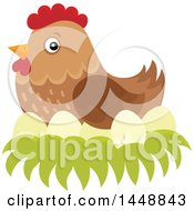 Clipart Of A Brown Hen Nesting Royalty Free Vector Illustration