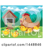 Poster, Art Print Of Hen And Chicks By A Coop