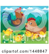 Poster, Art Print Of Rooster Hen And Chicks