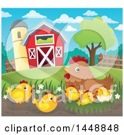 Poster, Art Print Of Hen And Chicks By A Barn