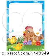 Clipart Of A Border Of A Hen And Chicks With Easter Eggs Royalty Free Vector Illustration