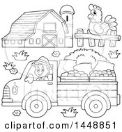 Black And White Lineart Farmer Driving A Truck Chicken And Barn
