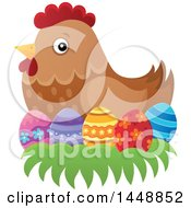 Clipart Of A Brown Hen Nesting On Easter Eggs Royalty Free Vector Illustration