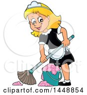 Clipart Of A Cartoon Happy Blond Maid Mopping Royalty Free Vector Illustration