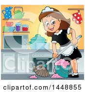 Clipart Of A Cartoon Happy Brunette Maid Mopping A Kitchen Royalty Free Vector Illustration by visekart