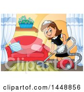 Clipart Of A Cartoon Happy Brunette Maid Vacuuming A Living Room Royalty Free Vector Illustration
