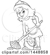 Clipart Of A Cartoon Black And White Lineart Happy Maid Mopping Royalty Free Vector Illustration