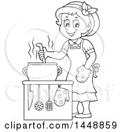 Clipart Of A Cartoon Black And White Lineart Happy Housewife Cooking Royalty Free Vector Illustration