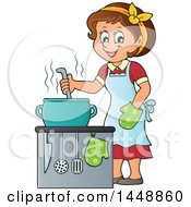 Clipart Of A Cartoon Happy Brunette Housewife Cooking Royalty Free Vector Illustration by visekart