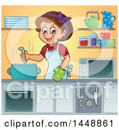 Cartoon Happy Brunette Housewife Cooking Soup Or Stew In A Kitchen