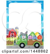 Clipart Of A Border Of A Rabbit Hauling Giant Easter Eggs With A Pickup Truck Royalty Free Vector Illustration by visekart