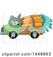 Clipart Of A Rabbit Hauling Giant Carrots With A Pickup Truck Royalty Free Vector Illustration