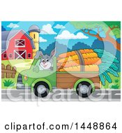 Rabbit Hauling Large Carrots With A Pickup Truck