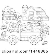 Black And White Lineart Barn Fence And Rabbit Hauling Giant Carrots With A Pickup Truck