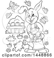 Clipart Of A Black And White Lineart Rabbit Watering A Garden Royalty Free Vector Illustration