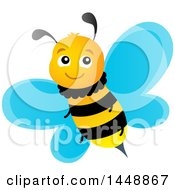 Clipart Of A Cute Happy Bee Royalty Free Vector Illustration