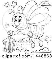 Clipart Of A Black And White Lineart Happy Firefly Flying With A Lantern Royalty Free Vector Illustration by visekart