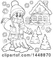 Clipart Of A Black And White Lineart Man Shoveling Snow By His House Royalty Free Vector Illustration