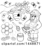 Black And White Lineart Bee Keeper And Bees