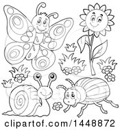 Poster, Art Print Of Black And White Lineart Butterfly Flower Snail And Beetle
