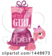 Poster, Art Print Of Pink Tortoise Turtle With A Pink Its A Girl Gift Box