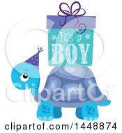 Clipart Of A Blue Tortoise Turtle With A Pink Its A Girl Gift Box Royalty Free Vector Illustration