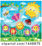 Clipart Of A Sun Over Spring Flowers And Insects Royalty Free Vector Illustration by visekart