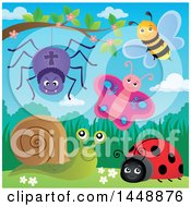 Clipart Of A Spider Bee Butterfly Ladybug And Snail On A Spring Day Royalty Free Vector Illustration by visekart