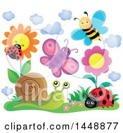 Clipart Of Happy Insects Near Flowers Royalty Free Vector Illustration