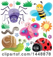 Clipart Of A Spider Bee Worm Butterfly Ladybug And Snail Royalty Free Vector Illustration by visekart