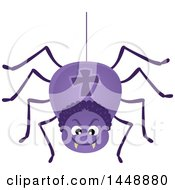 Clipart Of A Hanging Purple Spider Royalty Free Vector Illustration by visekart