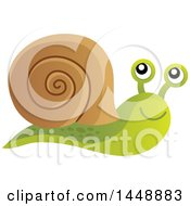 Clipart Of A Happy Snail Royalty Free Vector Illustration by visekart
