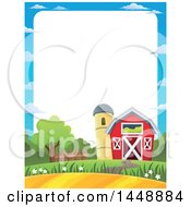 Clipart Of A Border Of A Barn And Silo With Farmland Royalty Free Vector Illustration