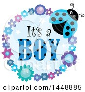Clipart Of A Blue Ladybug And Flower Frame With Its A Boy Text Royalty Free Vector Illustration