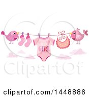 Two Pink Birds Holding Up A Clothesline With A Its A Girl Baby Onesie Bib And Socks