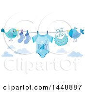Clipart Of Two Blue Birds Holding Up A Clothesline With A Its A Boy Baby Onesie Bib And Socks Royalty Free Vector Illustration by visekart