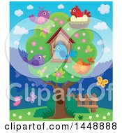 Clipart Of A Tree Butterflies And Colorful Birds Royalty Free Vector Illustration