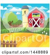 Barn And Silo With Farmland